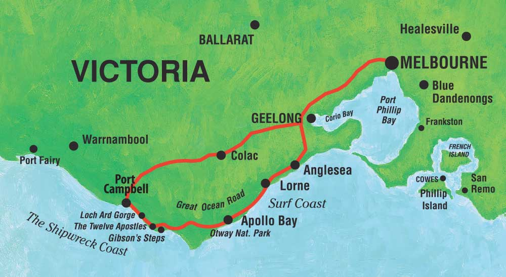 great ocean road tour map